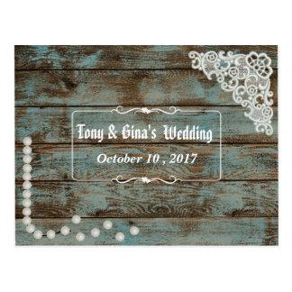 Pérolas & laço rústicos que Wedding RSVP Cartão Postal