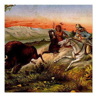 Perseguição do búfalo do T Poster Perfeito