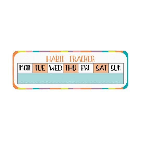 Perseguidor semanal do hábito - loja dos doces etiqueta endereço de retorno