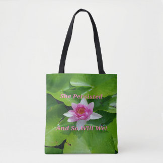 Persistiu Lotus cor-de-rosa em lilypads Bolsa Tote