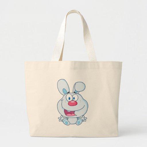 Personagem de desenho animado azul bonito do coelh bolsas de lona