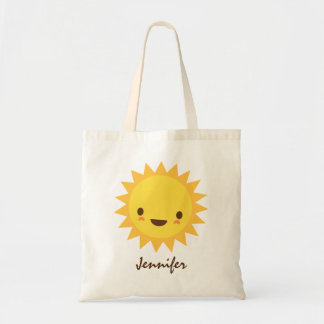 Personagem de desenho animado bonito do sol do kaw bolsa tote