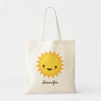 Personagem de desenho animado bonito do sol do kaw sacola tote budget