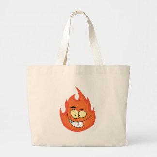 Personagem de desenho animado da chama bolsas de lona
