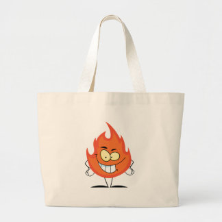 Personagem de desenho animado da chama bolsas