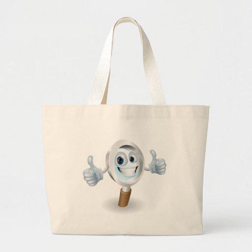 Personagem de desenho animado da lupa bolsas de lona