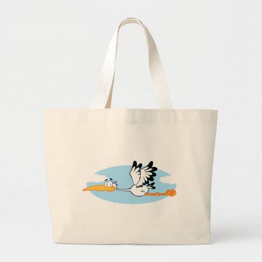 Personagem de desenho animado da mascote da cegonh bolsas de lona