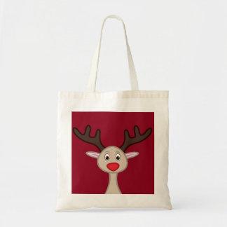 Personagem de desenho animado da rena bolsa tote