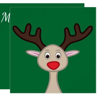 Personagem de desenho animado da rena convite quadrado 13.35 x 13.35cm