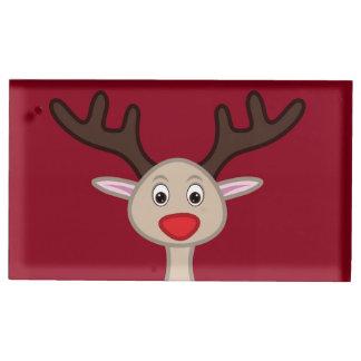 Personagem de desenho animado da rena suporte para cartao de mesa