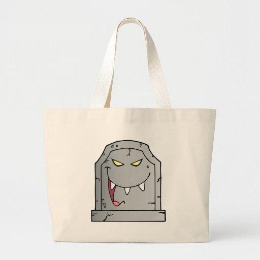 Personagem de desenho animado de riso da lápide bolsas para compras