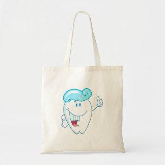 Personagem de desenho animado de sorriso do dente sacola tote budget