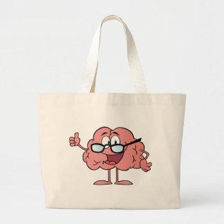 Personagem de desenho animado do cérebro que dá os bolsa para compras