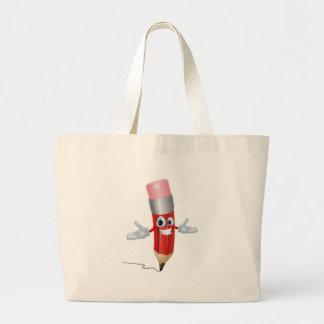 Personagem de desenho animado do lápis bolsas para compras