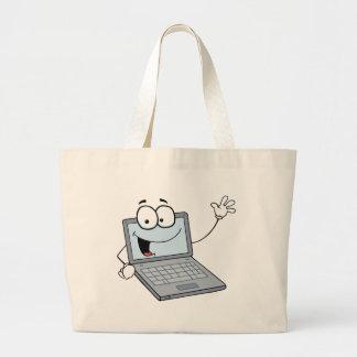 Personagem de desenho animado do laptop que acena  sacola tote jumbo