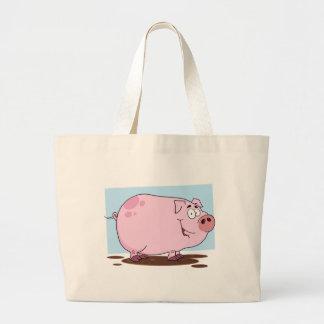 Personagem de desenho animado do porco bolsa de lona