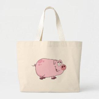 Personagem de desenho animado do porco bolsas