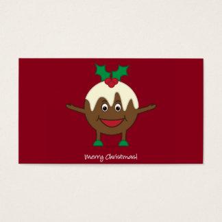 Personagem de desenho animado do pudim do Natal Cartão De Visitas