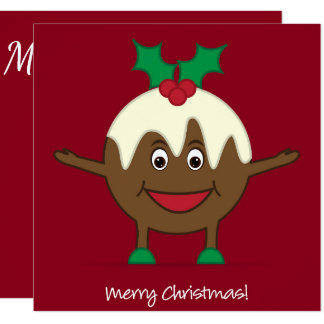 Personagem de desenho animado do pudim do Natal Convite Quadrado 13.35 X 13.35cm