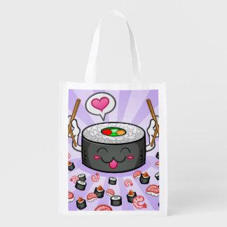 Personagem de desenho animado do sushi que come lo sacola ecológica para supermercado