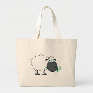 Personagem de desenho animado dos carneiros branco bolsas para compras