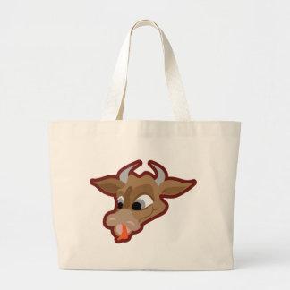 Personagem de desenho animado engraçado da vaca bolsas