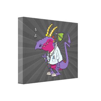 personagem de desenho animado engraçado do dragão  impressão de canvas envolvidas