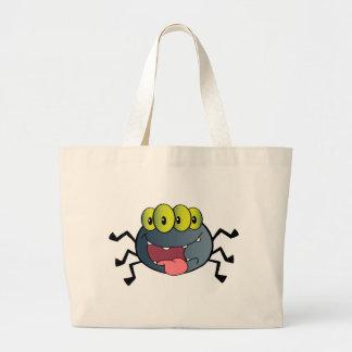 Personagem de desenho animado feliz da aranha bolsas de lona