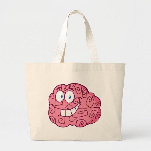 Personagem de desenho animado feliz do cérebro bolsas