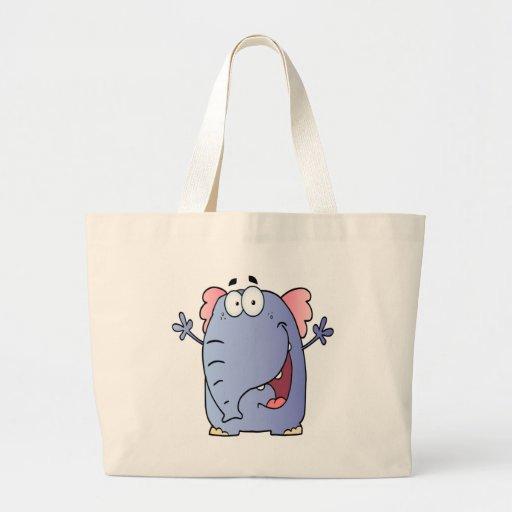 Personagem de desenho animado feliz do elefante bolsa