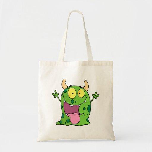 Personagem de desenho animado feliz do monstro bolsa de lona