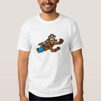 Personagem de desenho animado retro do vôo do t-shirt