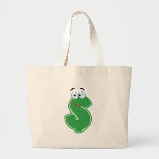 Personagem de desenho animado verde do dólar bolsa de lona