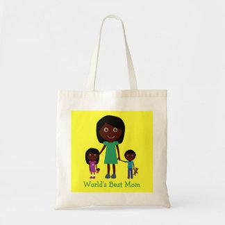 Personagens de desenho animados étnicos bonitos da sacola tote budget