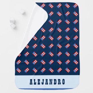 Personalizado: Azul: Bandeira de Puerto Rico Manta Para Bebe