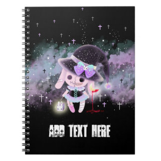 Personalizado - coelho bonito assustador do diabo cadernos espiral