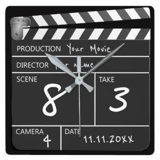 Personalizado de um filme amável Clapperboard Relógio Quadrado