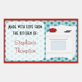 Personalizado feito da cozinha do fogão retro adesivo retangular