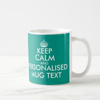 Personalizado mantenha a calma e as suas canecas