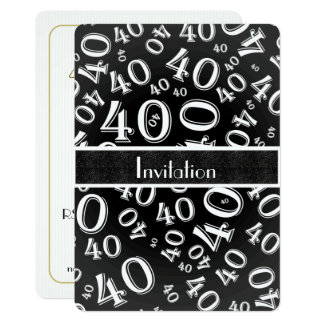 Personalize: 40th Festa de aniversário preto e Convite 12.7 X 17.78cm