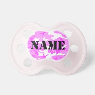 Personalize a camuflagem cor-de-rosa capaz chupeta para bebê
