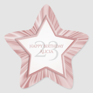 Personalize a estrela cor-de-rosa feminino do adesivo estrela
