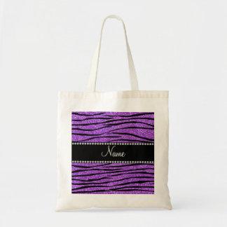 Personalize a tira roxa pastel conhecida da zebra  sacola tote budget