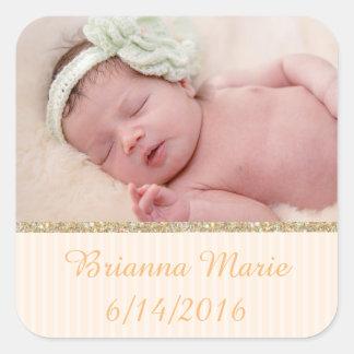 Personalize esta etiqueta com a foto do seu bebê adesivo quadrado
