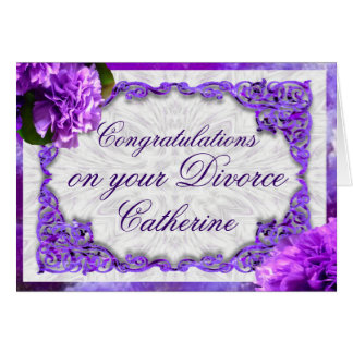Personalize este cartão violeta do divórcio dos