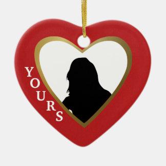 Personalize este coração vermelho do amor: Seu Ornamento De Cerâmica Coração