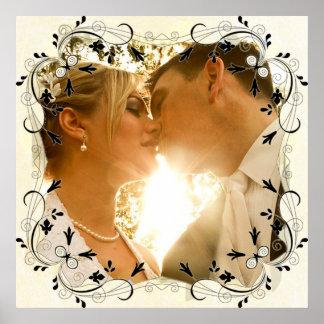 Personalize este poster lindo da foto do casamento pôster