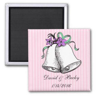Personalize estes ímãs cor-de-rosa do favor do ímã quadrado