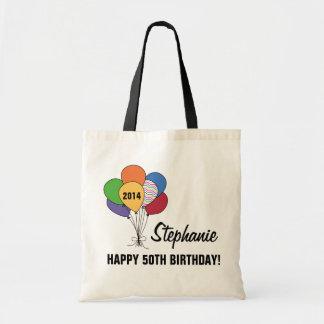 Personalize nosso 50th saco do balão do sacola tote budget