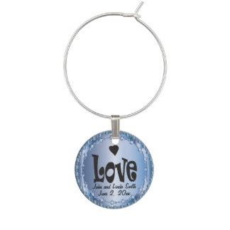 Personalize o amor em um azul elegante identificador de taças